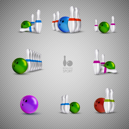 indoor sport: Bowling items on the gray background. Bowling skittles and bowls as vector design elements. Illustration