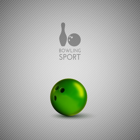 sphere standing: Bowling bowl on the gray background. Vector design elements.