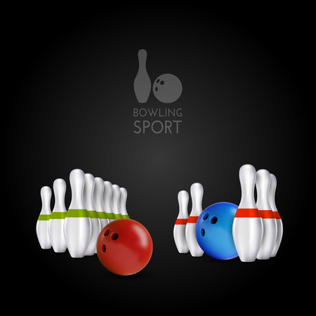 ball: Bowling items on the dark background. Bowling skittles and bowls as vector design elements. Illustration