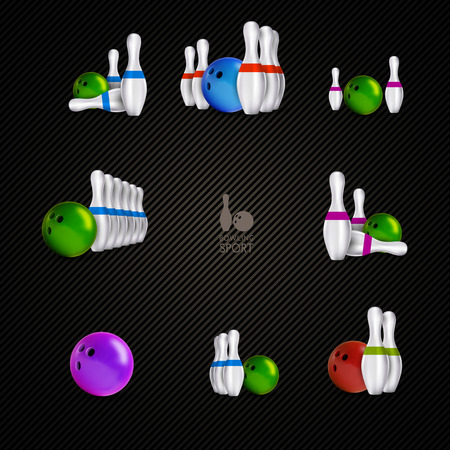 Bowling items on the dark background. Bowling skittles and bowls as vector design elements. Illustration
