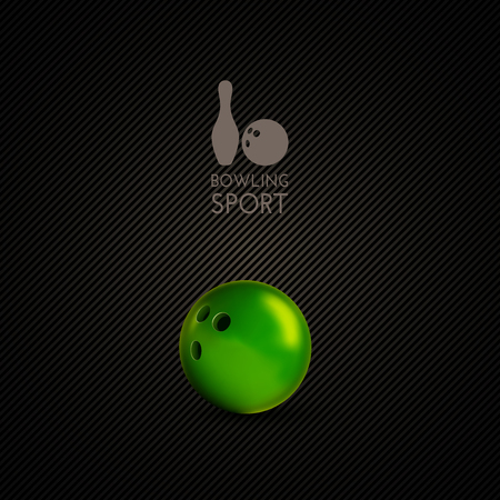 sphere standing: Green bowling bowl on the dark background. Vector design elements. Illustration