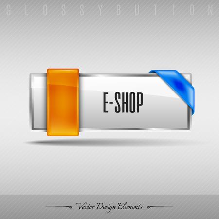 eshop: Business web button for website or app. Vector design element.