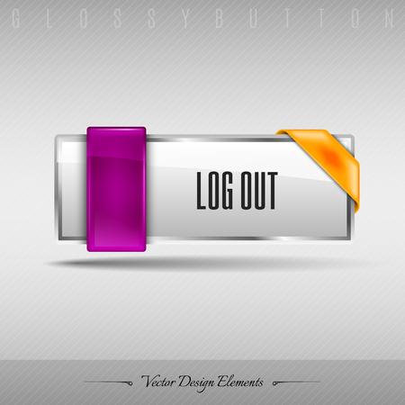 log off: Business web button for website or app. Vector design element.
