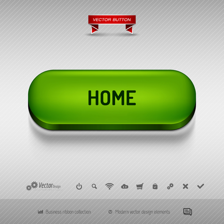 webdesign: Green button for webdesign or app on the gray background with shadow. Vector design elements.
