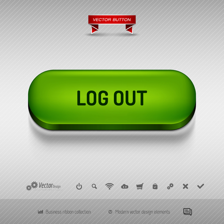 log off: Green button for webdesign or app on the gray background with shadow. Vector design elements.