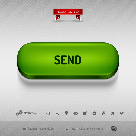 detach: Green button for webdesign or app on the gray background with shadow. Vector design elements.