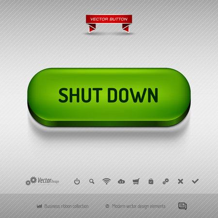 shutdown: Green button for webdesign or app on the gray background with shadow. Vector design elements.
