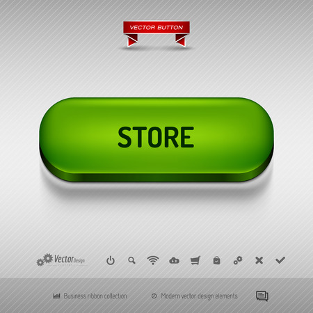 eshop: Green button for webdesign or app on the gray background with shadow. Vector design elements.