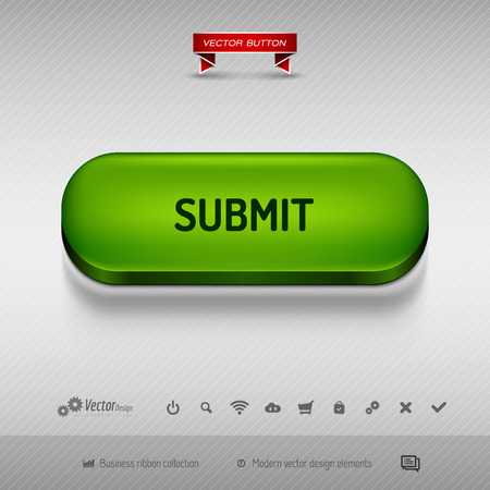 administer: Green button for webdesign or app on the gray background with shadow. Vector design elements.