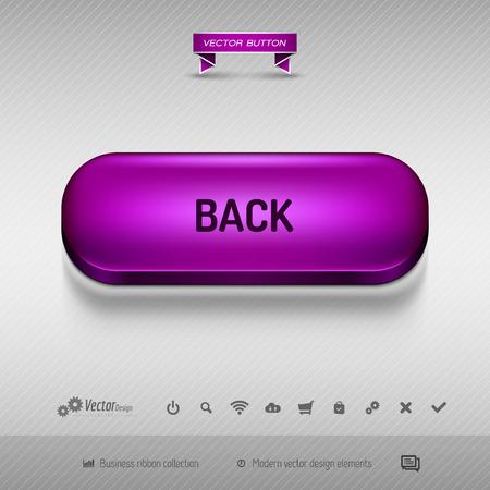 Botón púrpura para diseño web o aplicación en el fondo gris con sombra. Vector elementos de diseño.