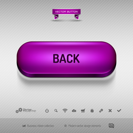 pulsante viola per web design o app su sfondo grigio con ombra. Vector design elements.