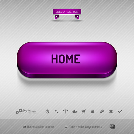 webdesign: Purple button for webdesign or app on the gray background with shadow. Vector design elements.