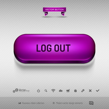 log on: Purple button for webdesign or app on the gray background with shadow. Vector design elements.