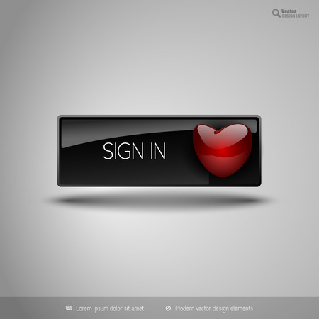 sign up: Black glossy button with red heart. Vector business design elements.