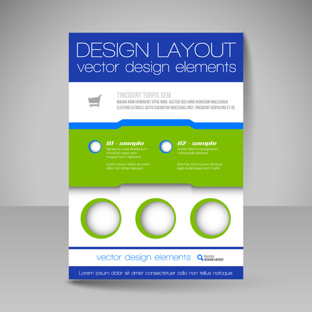 flyer layout: Template of flyer for business brochures, presentations, websites, magazine covers. Editable vector design elements.