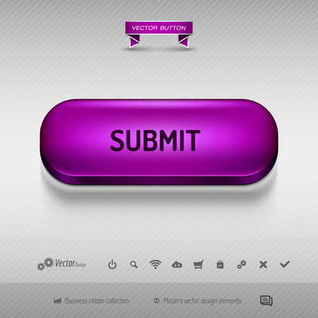 administer: Purple button for webdesign or app on the gray background with shadow. Vector design elements.