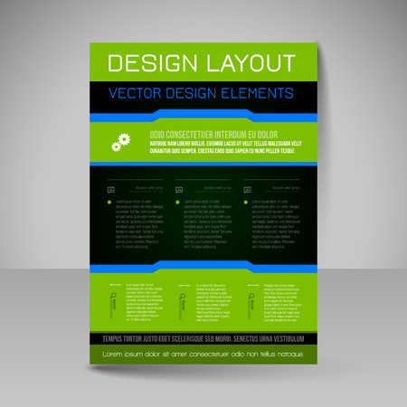 magazine design: Template of flyer for business brochures, presentations, websites, magazine covers. Editable vector design elements.
