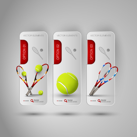 design objects: Vector ball and racket of tennis. Realistic objects on the gray banners as design elements. Illustration