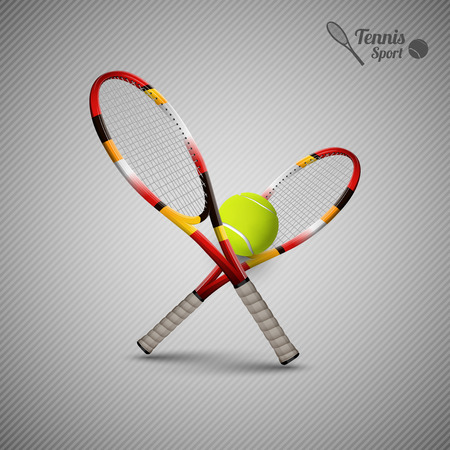 Tannis ball and racket on the gray background. Vector tennis items as design elements.