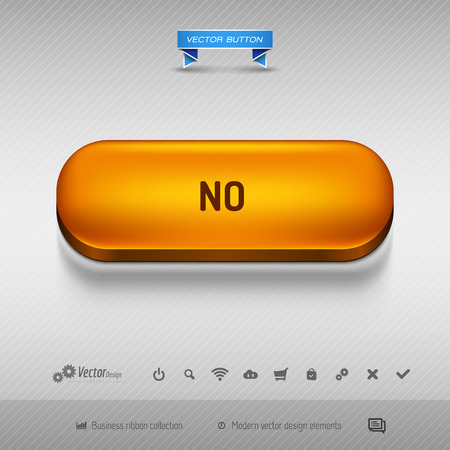 disapproval: Orange button for webdesign or app on the gray background with shadow. Vector design elements. Illustration