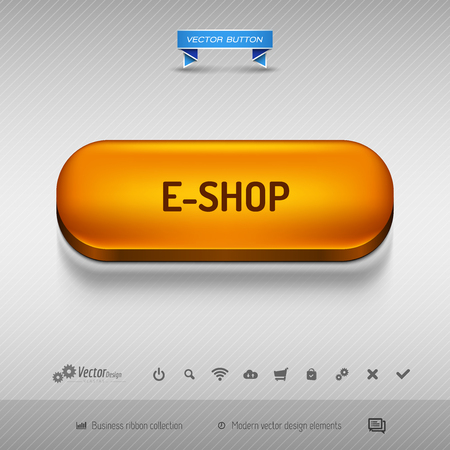 eshop: Orange button for webdesign or app on the gray background with shadow. Vector design elements. Illustration