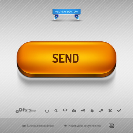 detach: Orange button for webdesign or app on the gray background with shadow. Vector design elements. Illustration