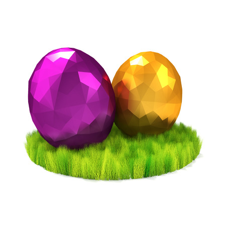 Two eggs on the green lawn. Easter symbols. Low poly 3D render.