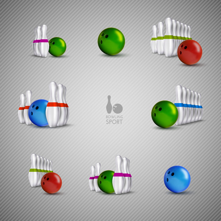 sphere standing: Bowling items on the gray background. Bowling skittles and bowls as design elements.