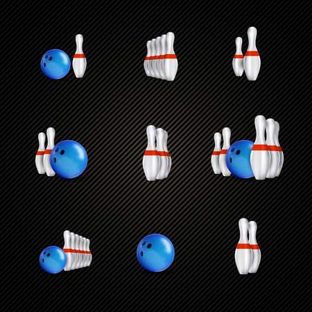 sphere standing: Bowling items on the dark background. Bowling skittles and bowls as design elements. Illustration