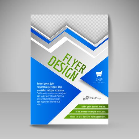 magazine design: magazine cover, brochure, template design for business education, presentation, website. Editable illustration. Blue and green colors. Illustration