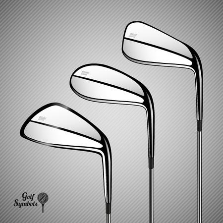 golf stick: Golf sticks on the gray background. sport items as design elements. Illustration