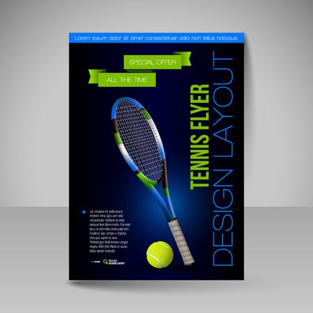 tournament: Flyer template. Tennis symbols. Vector sport elements for design. Illustration