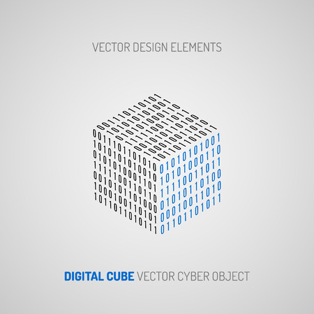 cryptogram: Cube created of numbers 1 and 0. Digital technology. Vector design element.