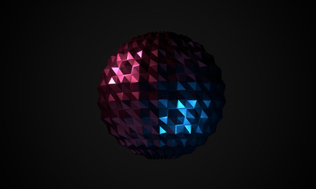 Dark background with abstract glossy shape as low poly ball. 3D redner image as design elements.
