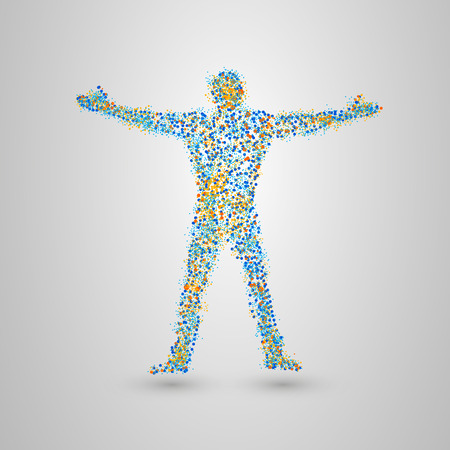 active life: Dotted silhouette of person. Standing man of many small circles. Vector illustration.