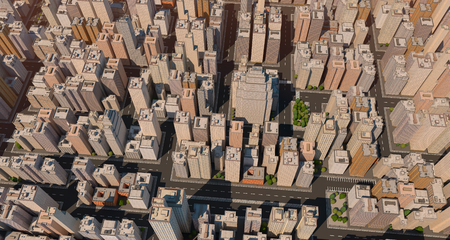 down town: City scape with trees and streets. High buildings. Center of big town. 3D render.