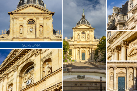 edifice: Historical house of Sorbonne the former University of Parisis edifice of the Latin Quarter in Paris, France.
