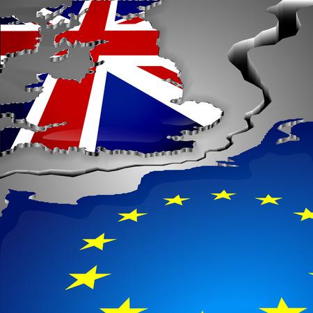 uk: Brexit UK EU referendum concept. The cut as big gap between Great Britain and European union. United Kingdom leaves EU. Illustration