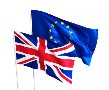 polling: Flags of the United Kingdom and the European Union. Brexit referendum. British leaves EU. Flag isolated on the white background.