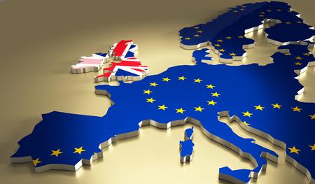 Carte de l'Europe avec les couleurs du drapeau national. Brexit référendum au Royaume-Uni - Royaume-Uni, la Grande-Bretagne ou en Angleterre laissant UE - Union européenne, vote britannique pour quitter.
