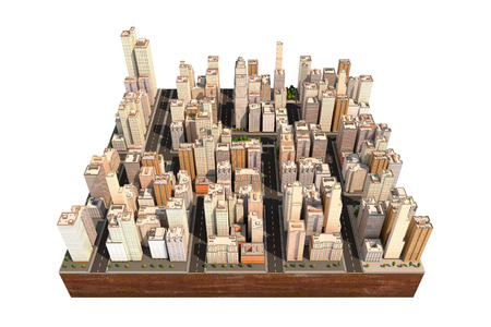 aerial view: City scape with trees and streets. High buildings. Model of town isolated on the white. Floating island as toy. 3D render. Stock Photo