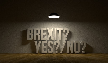 text room: Empty room with the text: Brexit yes or no. Art illustration symbolise that United Kingdom leaves European Union. Dark scene with shining lamp.
