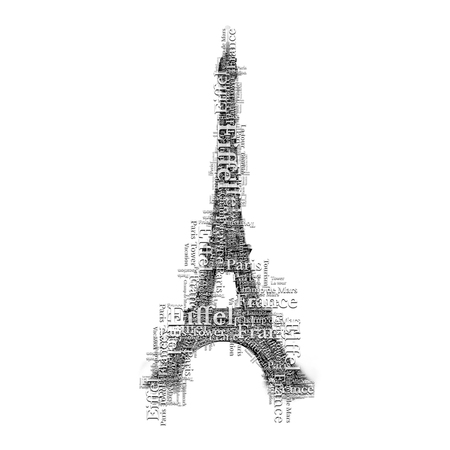 famous place: Eiffel tower in Paris make of many words. Lettering art symbol. France famous place. Stock Photo