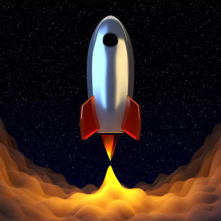 liftoff: Space rocket srat to the universe journy. Shining smoke under the chrome spaceshift. 3D render. Stock Photo