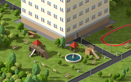 Infrastructure around the house. Child playground with the big building. 3D isometric part of city with nature.