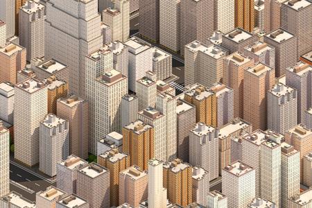 Isometrische stad scape. Hoge gebouwen. Centrum van de grote stad. 3D renderen.