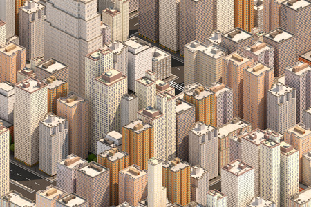 famous industries: Isometric city scape. High buildings. Center of big town. 3D render.