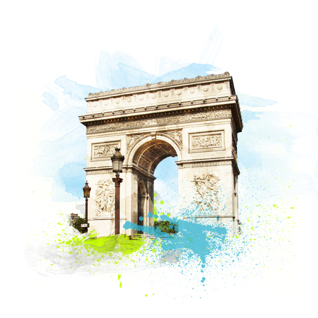 Arch of Triumph (Arc de Triomphe), Paris, France. Art with brushes and watercolors. Stock Photo