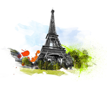 famous painting: Eiffel tower - tour, Paris, France. Art with brushes and watercolors.