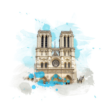 notre: Cathedrale Notre Dame de Paris, France. Art with brushes and watercolors.